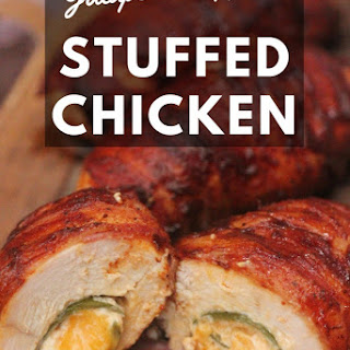 Bacon Wrapped Jalapeno Popper Stuffed Chicken.