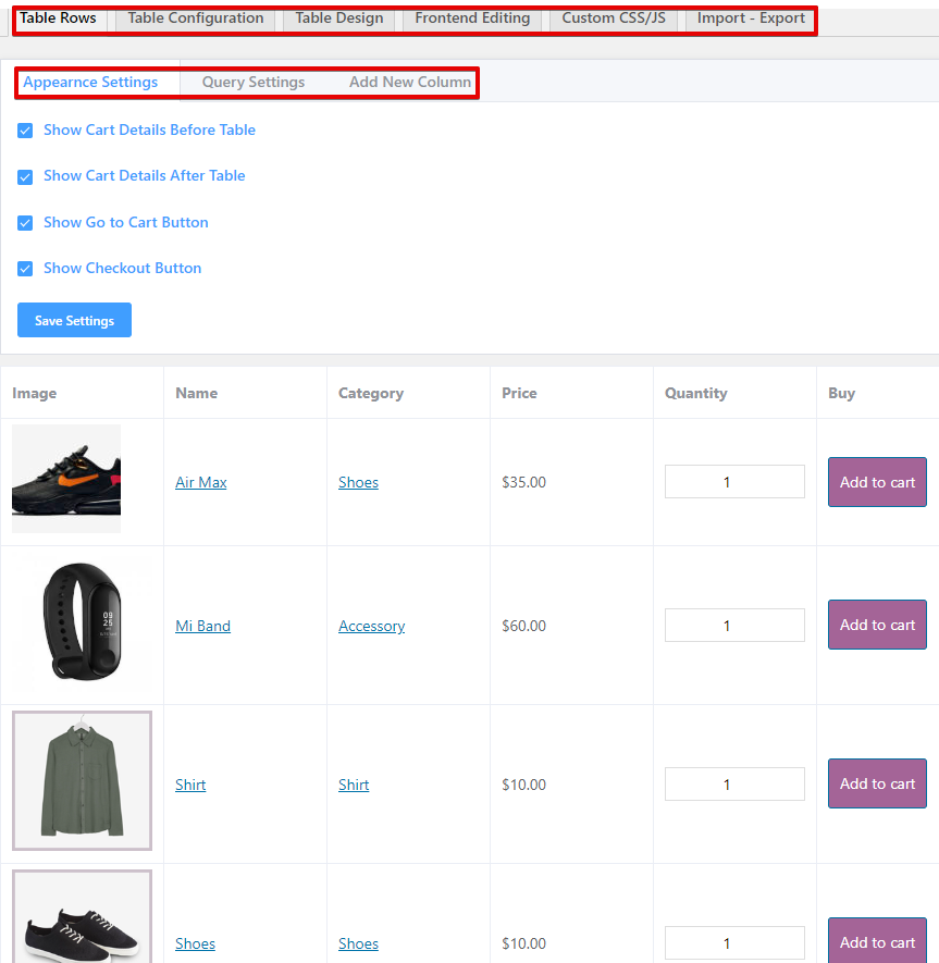 Responsive WooCommerce product table plugin