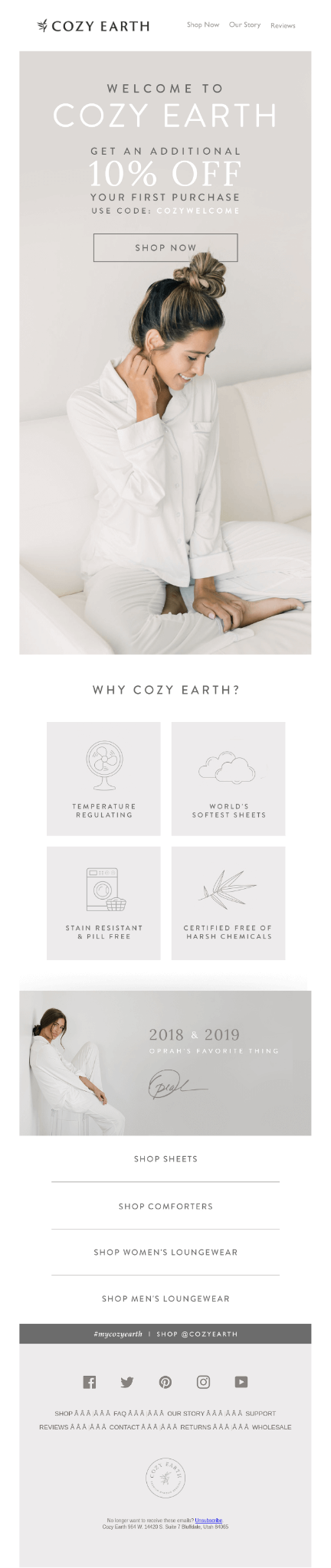 cozy earth discount buyer's journey with email