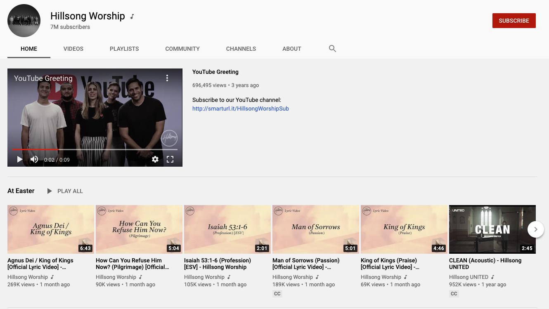 Hillsong Church Youtube Channel Screenshot