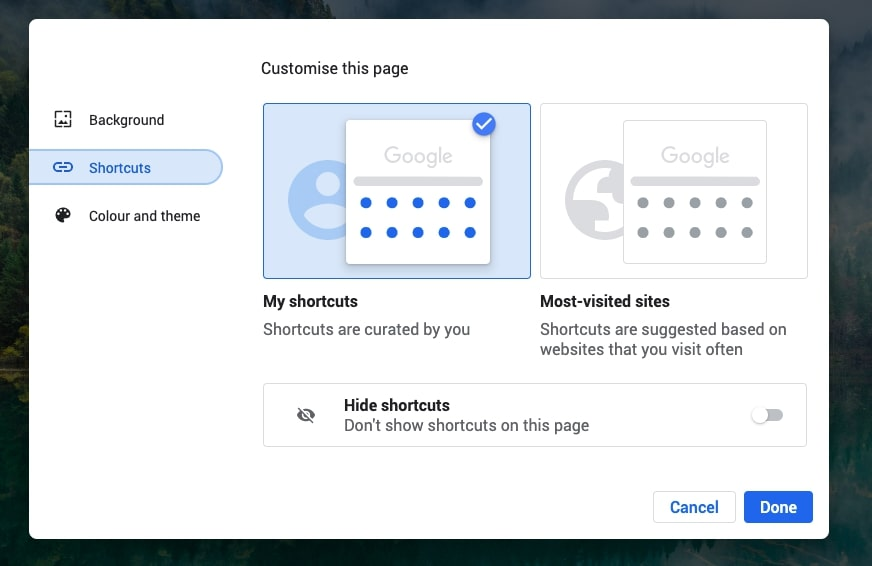 select shortcut from left menu
