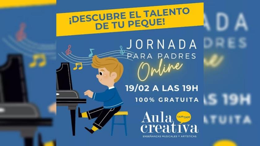 Cartel Jornada online para madres y padres en Aula Creativa de Música.