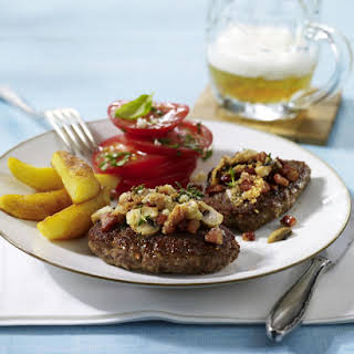 Bacon and Mushroom Burgers with Tomato Salad.