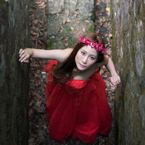 Red  by Billy C S Wong - People Portraits of Women ( red, coming, dark, bride, groom,  )