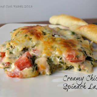 Creamy Chicken and Spinach Lasagna.