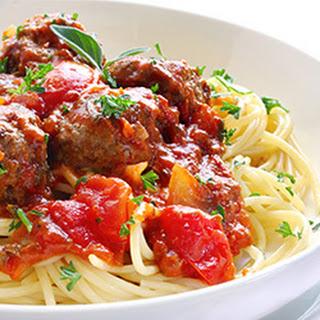 Spaghetti And Mini Meatballs.