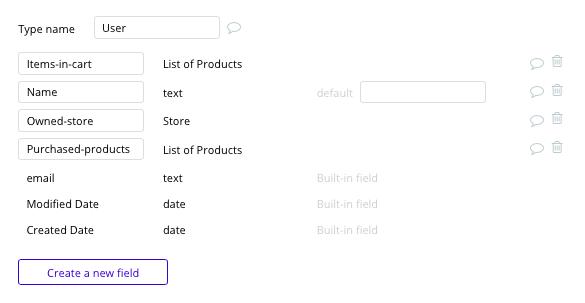 Criar site de e-commerce Shopify - tipos de dados e campos