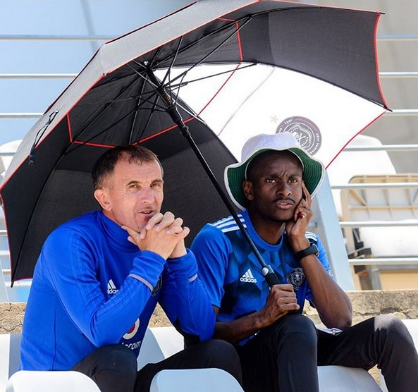 Orlando Pirates coach Milutin Sredojevic and his assistant Rhulani Mokoena.