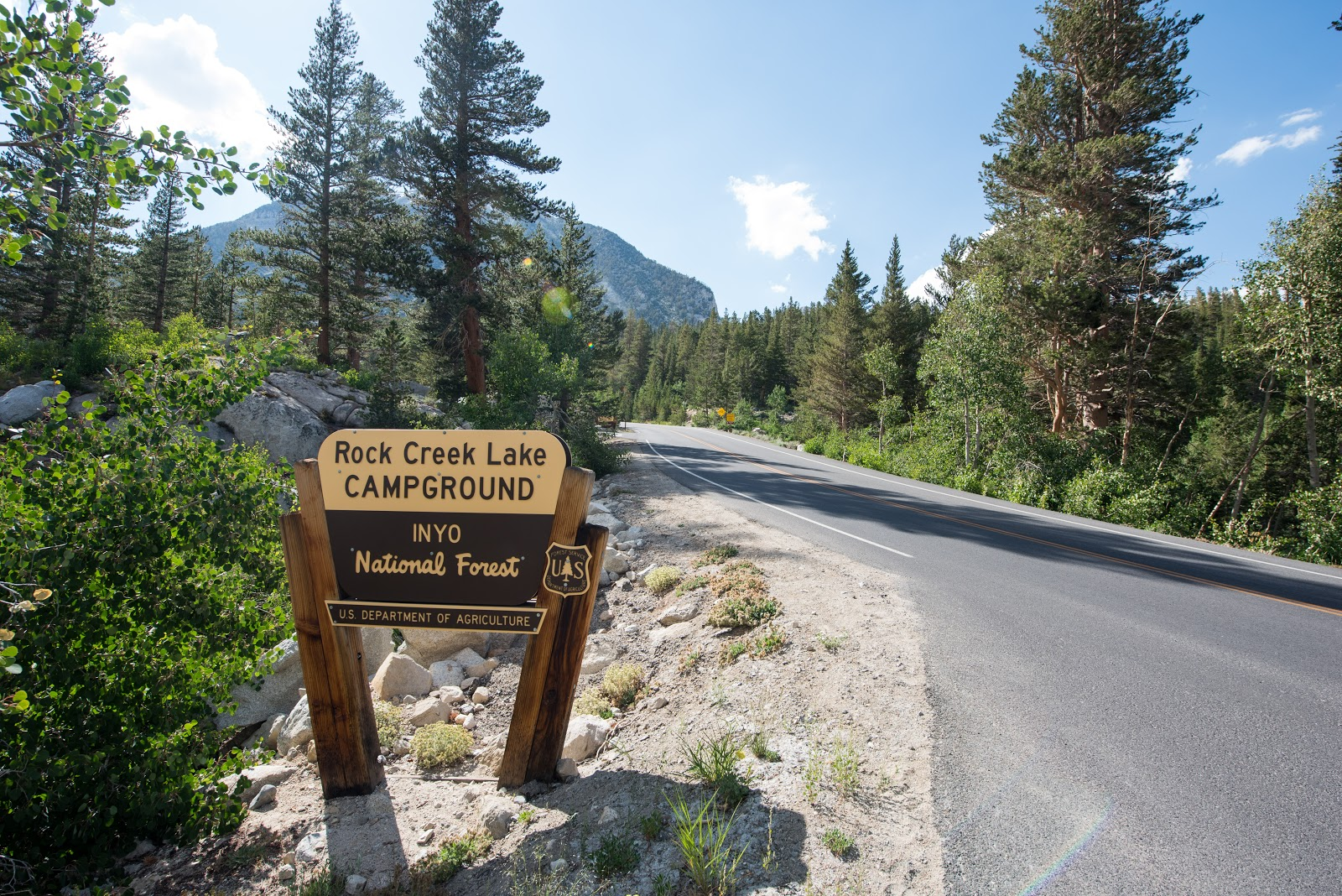 Rock Creek Campground sign and roadway