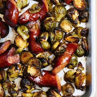Smoky Roasted Brussels Sprouts and Kielbasa.