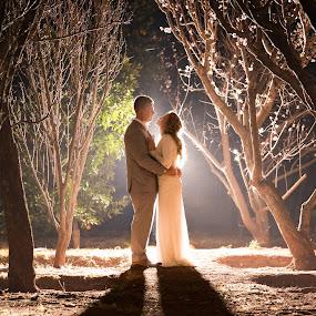 Bride and groom in the garden  by Nici Pelser - Wedding Bride & Groom