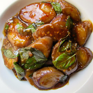 Braised Eggplant With Garlic and Basil.