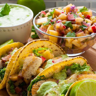 Grilled Fish Tacos with Pineapple Rhubarb Salsa.