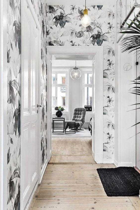 Black and White Smooth Floral on Your Hallway Wall
