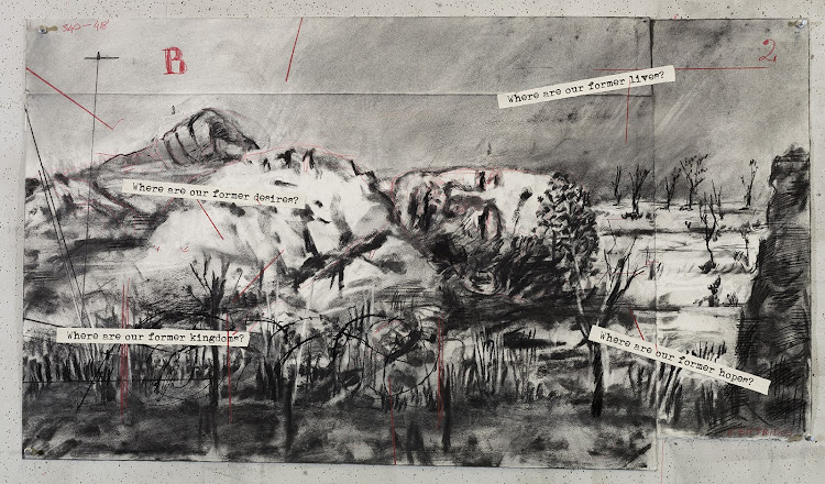 Original charcoal drawings that went into the production of the projections for The Head & the Load.