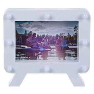 Rama foto din plastic, alba cu 8 leduri, 10 x 15 cm