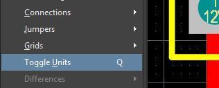 Captura de pantalla del comando de las unidades de cambio de diseño de AD18 para cambiar de MM a mi