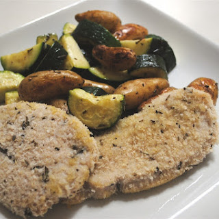 Savory Rosemary Turkey Cutlets with Fingerling Potatoes and Zucchini.