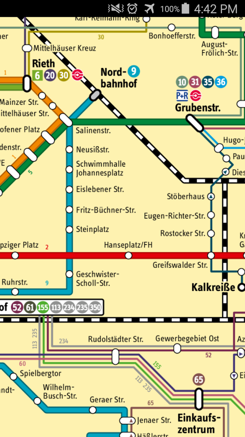Erfurt Tram & Bus Map- screenshot