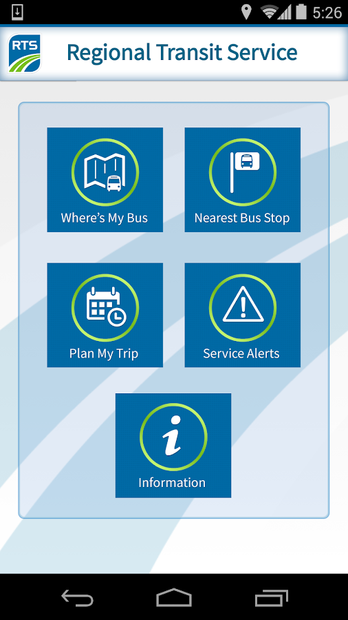 RIT Bus App- screenshot