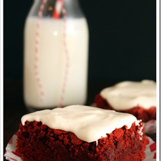 Red Velvet Brownies with Fluffy Cream Cheese Frosting