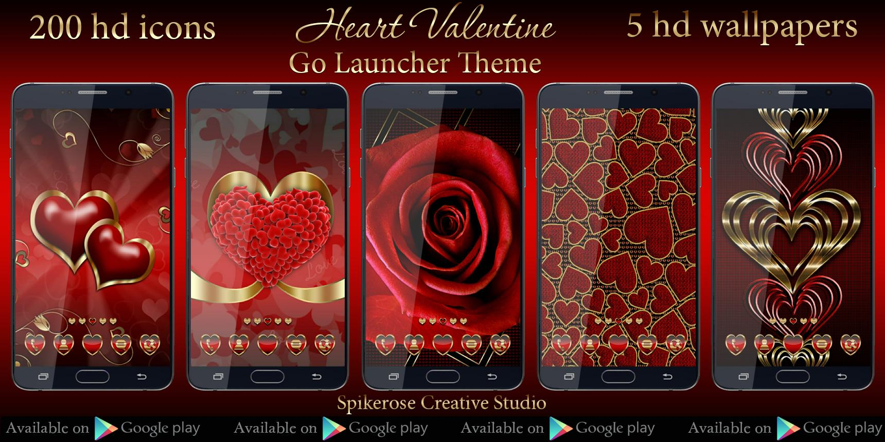 Google themes hearts - Hearts Love Go Launcher Theme Screenshot