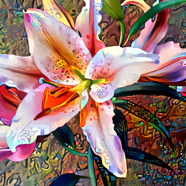 Lilies stargazer by Cassy 67 - Digital Art Things ( digital, love, modern art, harmony, flowers, abstract art, abstract, lilies, digital art, flower, light, lily, energy )