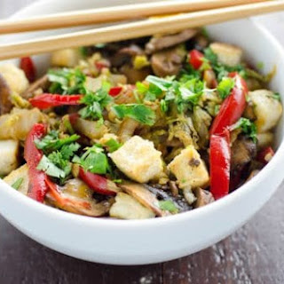 Napa Cabbage Stir Fry with Salt and Pepper Tofu.