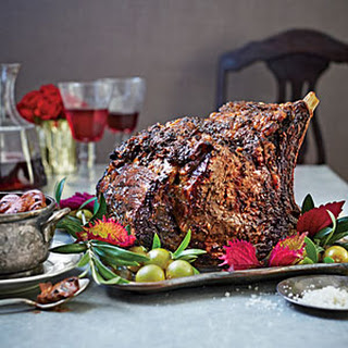 Standing Rib Roast with Red Wine Mushrooms