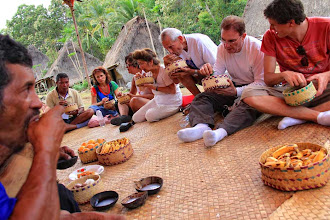 Photo: Plain rice, cooked meat, vegetables, side dish including the chili paste, were offered to symbolize friendliness and prosperity. The overjoyed visitors almost did not expect such hospitality. Belaraghi was one of their best moments in Flores. http://www.indonesia.travel