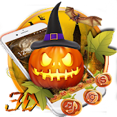 3D halloween pumpkin ghost theme