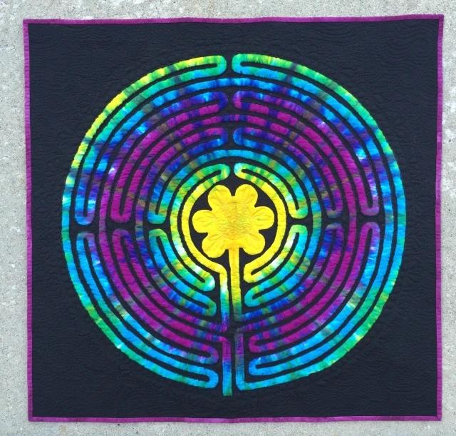 tie dye circular labyrinth