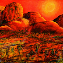The Great Outback by Jeremy Holton - Painting All Painting ( desert, mountain, olgas, australia, bush, outback )