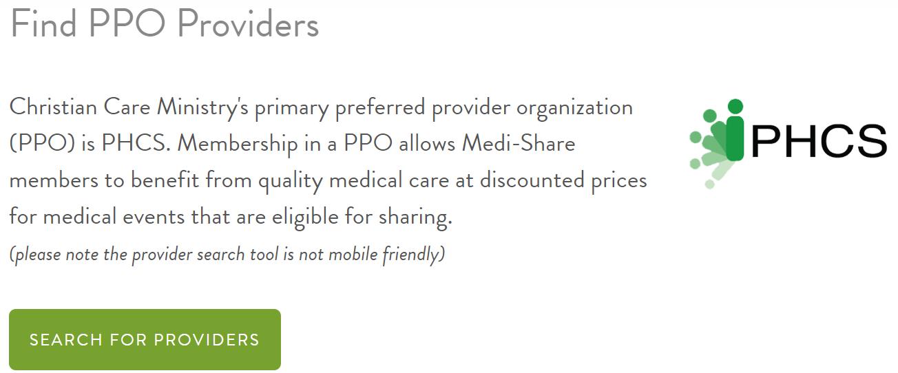 Community-Mitglieder werden aufgefordert, einen Anbieter in der bevorzugten Anbieterorganisation (PPO) einzurichten, um die Rabatte im Medi-Share-Programm optimal nutzen zu können.