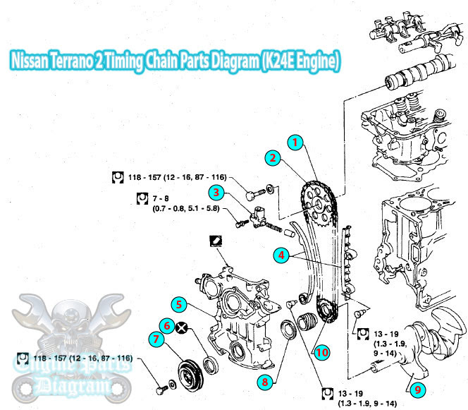 1996 nissan terrano 2 timing chain parts diagram k24e engine
