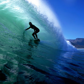 Surfing Cape Town by Paul Kennedy - Sports & Fitness Surfing ( surfing, surfer, green, wave, ocean )