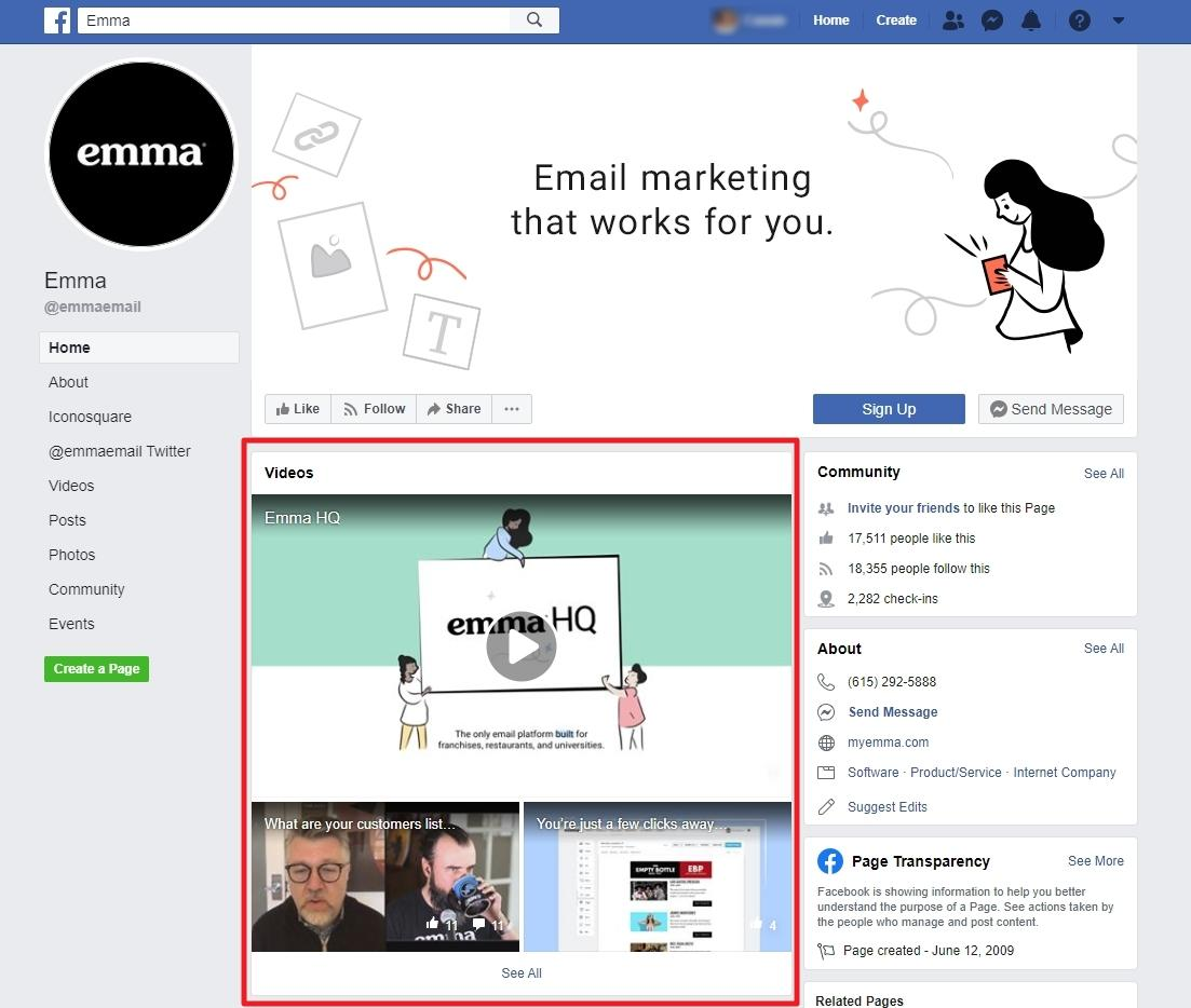 Emma facebook video marketing example