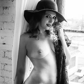 by James Wayne - Nudes & Boudoir Boudoir ( studio, boudoir, art, implied, nudity, fabric, topless, portrait )