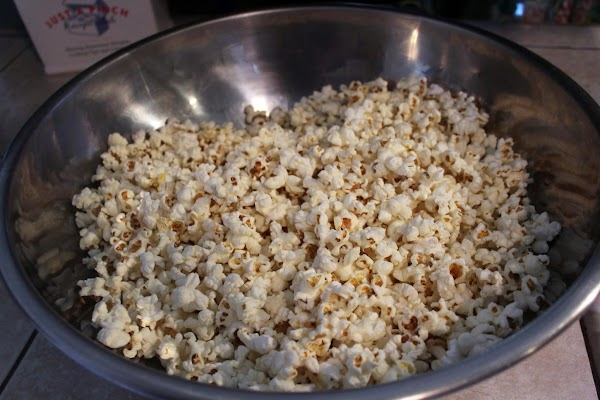 Air-popped popcorn in a large bowl.