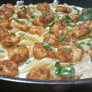 Crispy Cajun Shrimp with Fettucine