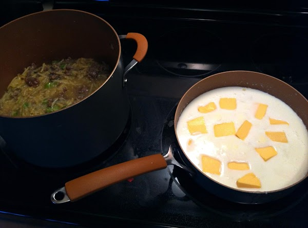 Cut Velveeta into chunks and add to pan.  Whisk until smooth.  Pour...