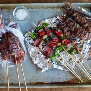 Freezer-to-Grill Steak and Vegetable Kabobs.