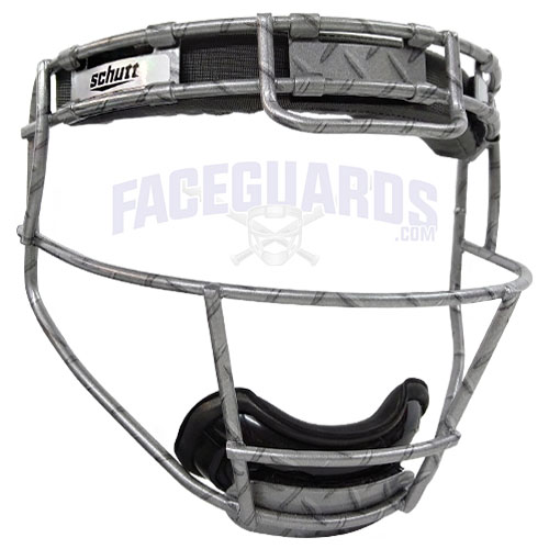 Schutt Pitchers Facemask Silver Diamond Plate