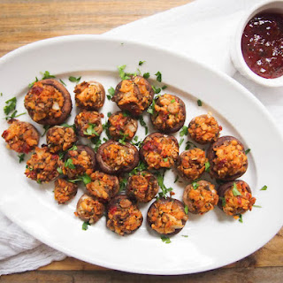 Vegan Tempeh Sausage Stuffed Mushrooms
