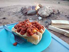 Photo: Chili dogs by the campfire!