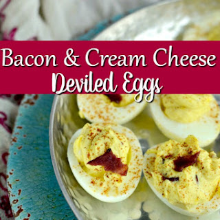 Side Dish Recipes - Bacon and Cream Cheese Deviled Eggs.