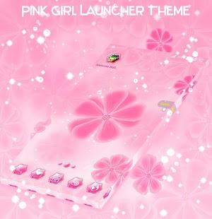 Růžová dívka Launcher Téma - náhled