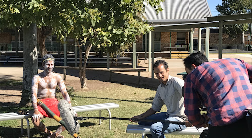 Gomeroi dancer and storyteller Clinton Lamb interviewed by Rusty Cage's Dave Byrne, left, and Christopher Byrne, right, at Narrabri Public School for Kamilaroi Stories.