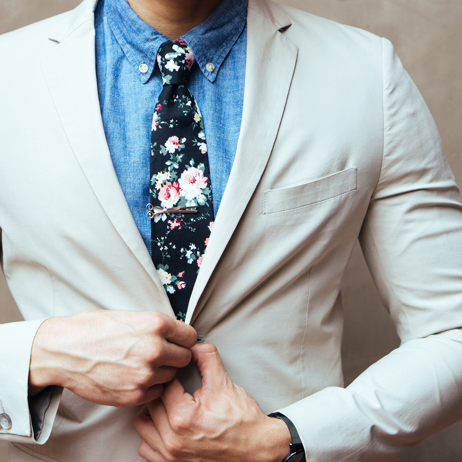Man in suit with floral tie