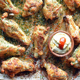 Creole Drumettes With Herbs & Smoky Chipotle Sour Cream Sauce.